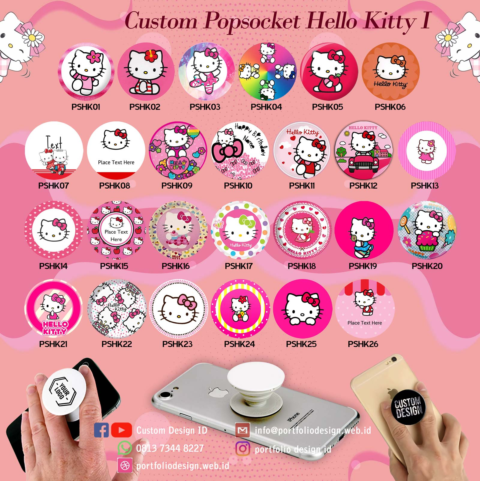 Pilihan desain custom popsocket karakter hp Hello Kitty part 1