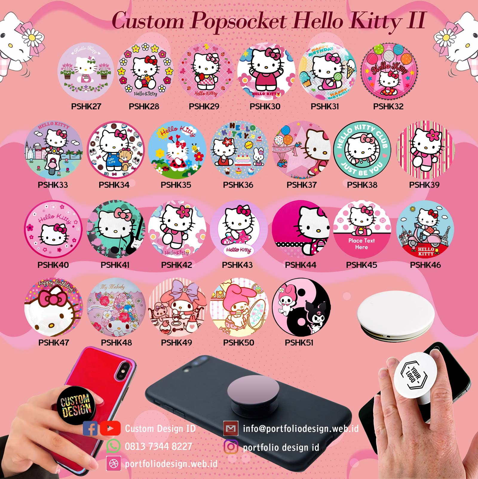 Pilihan desain custom popsocket karakter hp Hello Kitty part 2