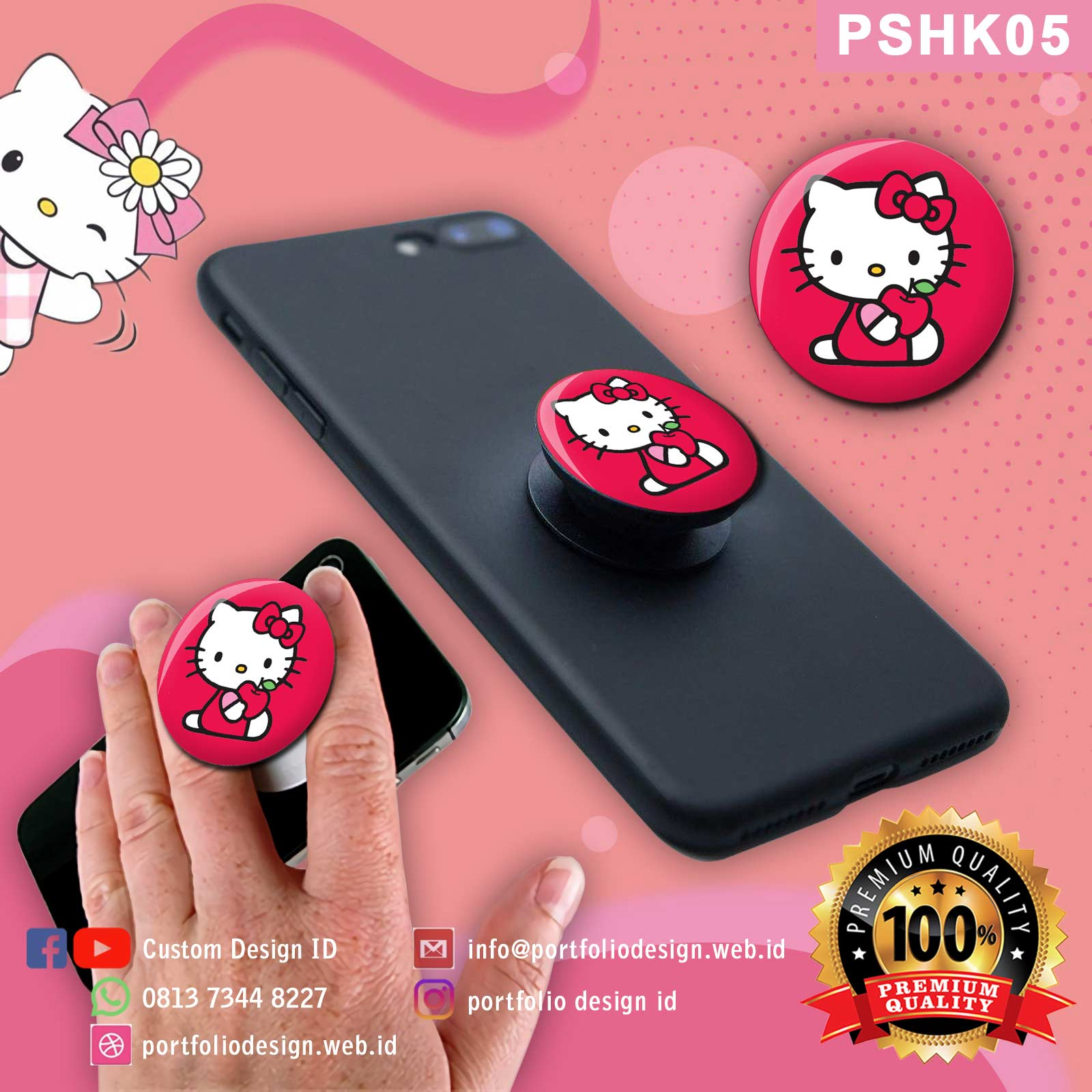 Aksesoris hp popsocket hello kitty murah custom desain PSHK05