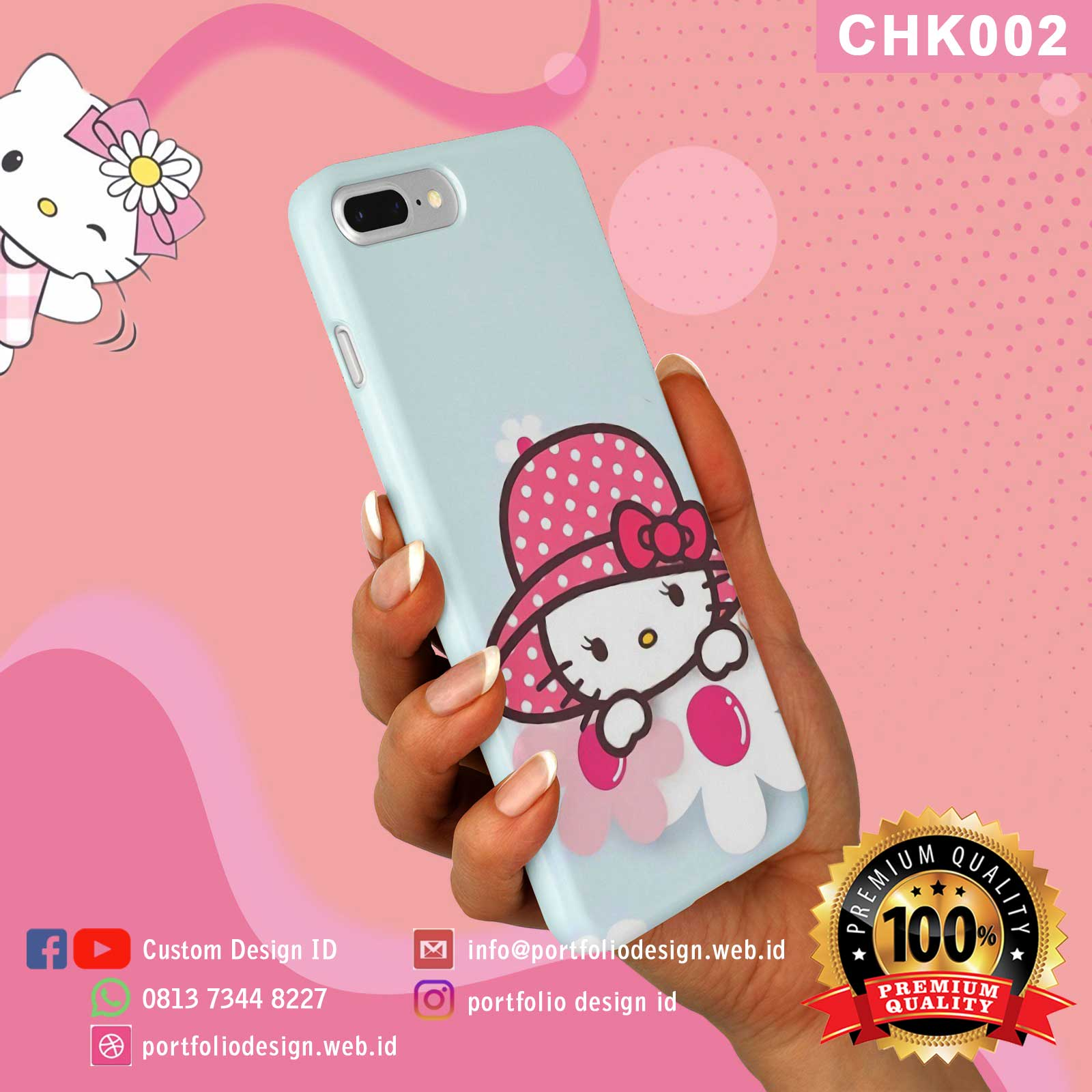 Casing gambar hello kitty CHK002 bahan softcase hardcase